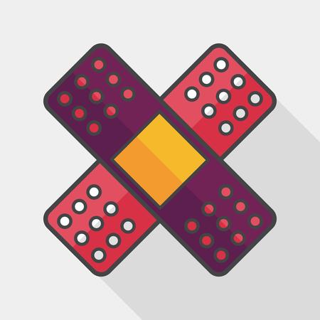 bandaging: medical bandage flat icon with long shadow,
