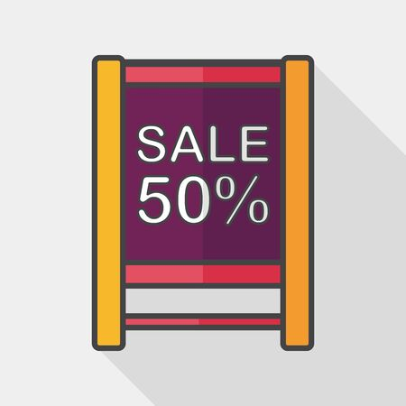 cheaper: shopping sale sign flag flat icon with long shadow,