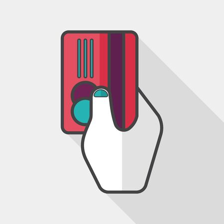 creditcard: shopping credit card flat icon with long shadow,