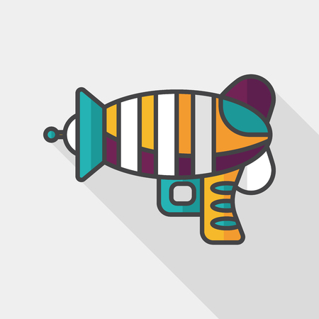 blaster: Space gun flat icon with long shadow