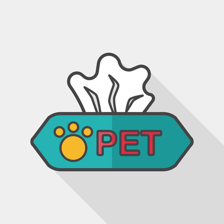 sniffle: Pet style tissue case flat icon with long shadow,