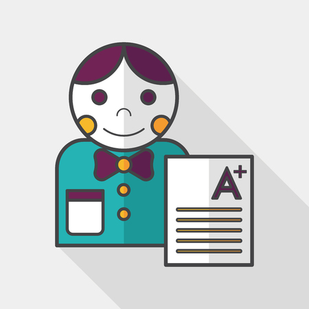 grade: A plus grade in the notebook,flat icon with long shadow Illustration
