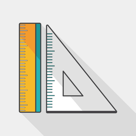 millimeters: Ruler flat icon with long shadow,