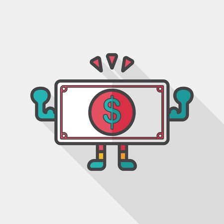 hundred dollar bill: shopping money cash flat icon with long shadow