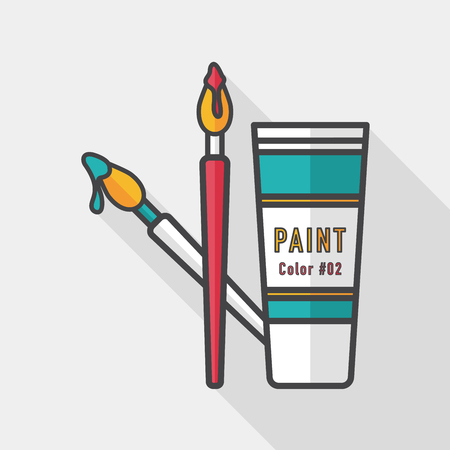 primary color: brush and color tube flat icon with long shadow,