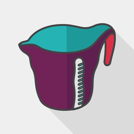 liter: kitchenware measuring cup flat icon with long shadow, Illustration