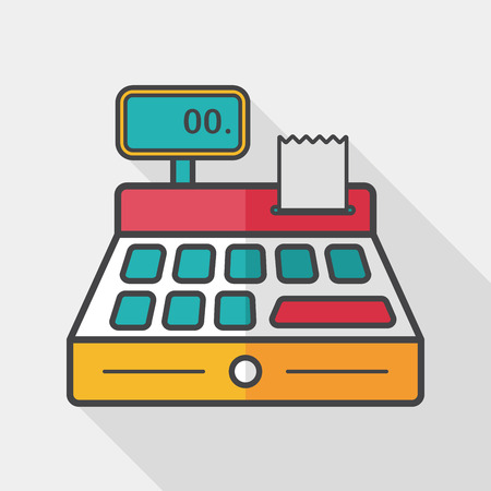 cash: shopping cash register flat icon with long shadow,