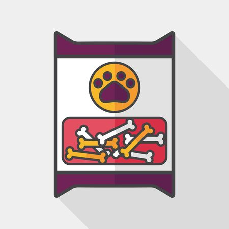 food package: Pet dog food package flat icon with long shadow,