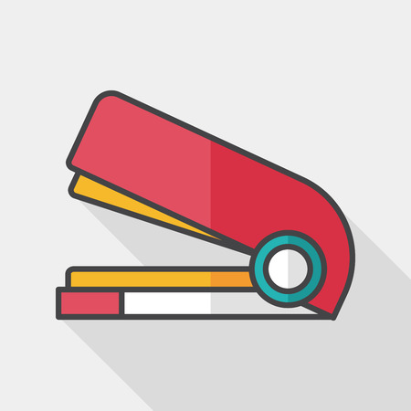 stapling: Stapler flat icon with long shadow