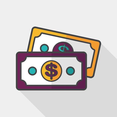 paper currency: shopping money cash flat icon with long shadow