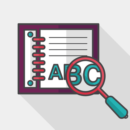 thesaurus: search Dictionary book flat icon with long shadow Illustration