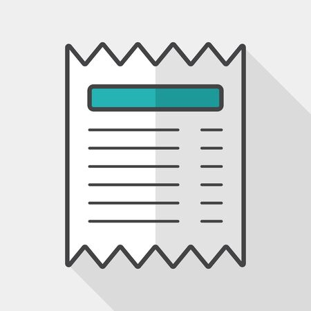 bank statement: shopping credit card bill flat icon with long shadow Illustration