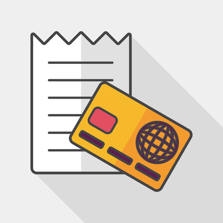 bank statement: shopping credit card bill flat icon with long shadow, Illustration