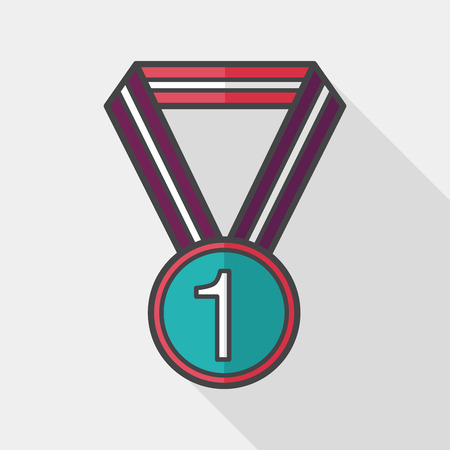 conquering: medal flat icon with long shadow