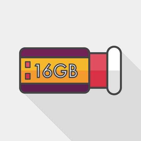 flash memory: Usb flash memory flat icon with long shadow,