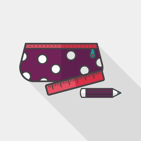 pencil box: pencil box flat icon with long shadow,