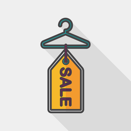 clothes hanger: shopping clothes hanger flat icon with long shadow