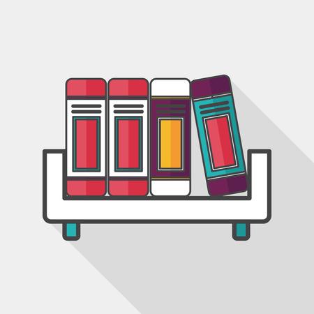 bibliography: bookshelf flat icon with long shadow