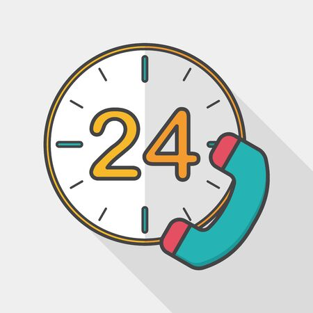 phone service: 24 hours customer phone service flat icon with long shadow, Illustration
