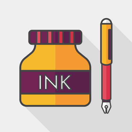 writing equipment: pen and  ink bottle flat icon with long shadow