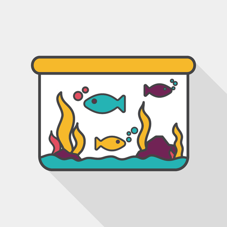fishbowl: Pet fish flat icon with long shadow