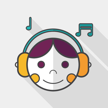 call center agent: Music flat icon with long shadow