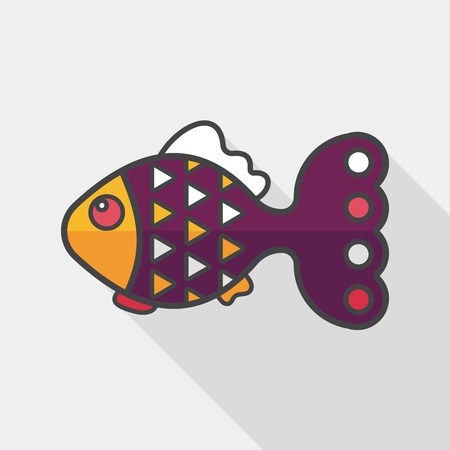 pet fish: Pet fish flat icon with long shadow