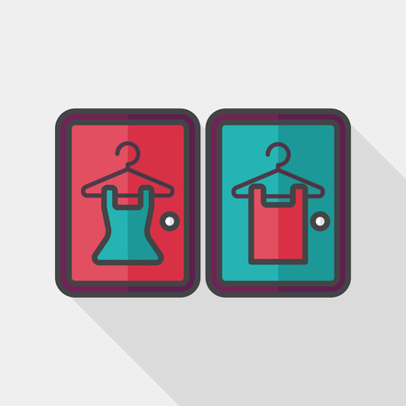 changing room: Fitting room flat icon with long shadow