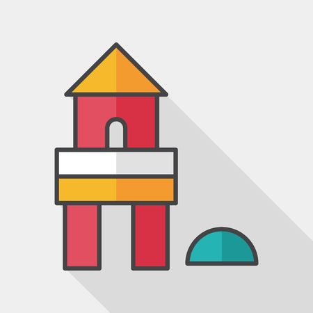 edifice: brick house flat icon with long shadow,