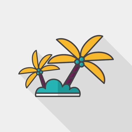 coco: Palm tree flat icon with long shadow,