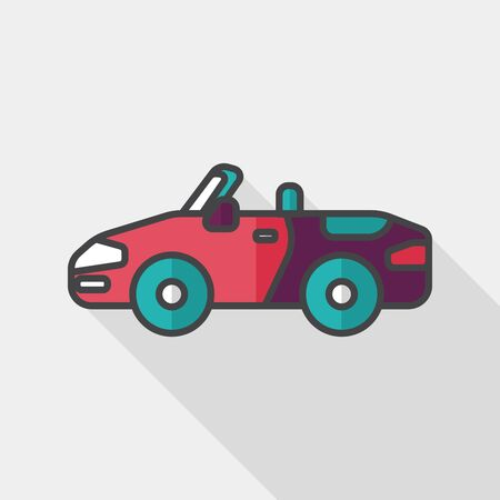 convertible car: Transportation open car flat icon with long shadow, Illustration