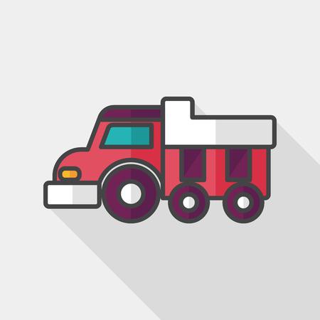 dumper: Dump truck flat icon with long shadow,