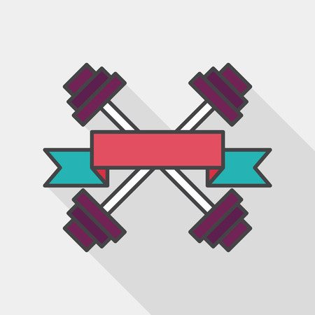 weightlifting: weightlifting flags flat icon with long shadow,
