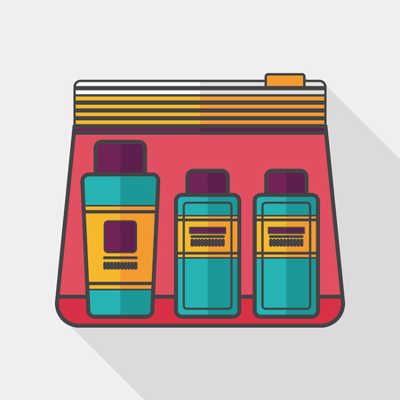 cosmetics bag: cosmetics containers flat icon with long shadow