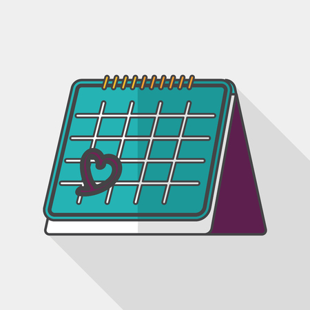 fourteen: Valentines Day February fourteen calendar flat icon with long shadow,eps10 Illustration