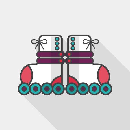 rollerskate: Roller skates flat icon with long shadow,