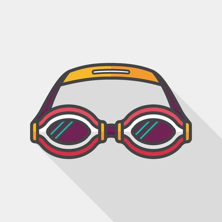 natacion: gafas de natación icono plana con una larga sombra,