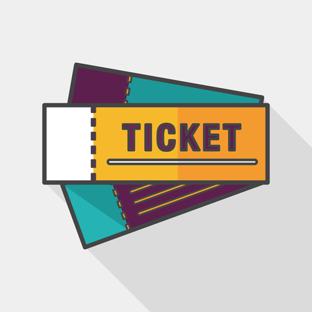 Ticket flat icon with long shadow Illustration