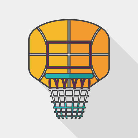 backboard: basketball backboard flat icon with long shadow,