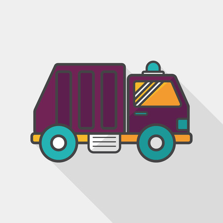 garbage truck: Transportation Garbage truck flat icon with long shadow,