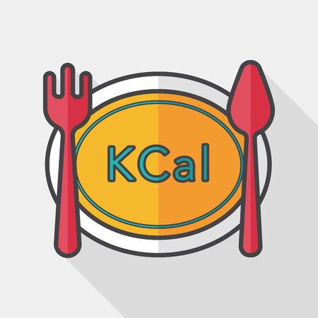 the calories: calories diet flat icon with long shadow,