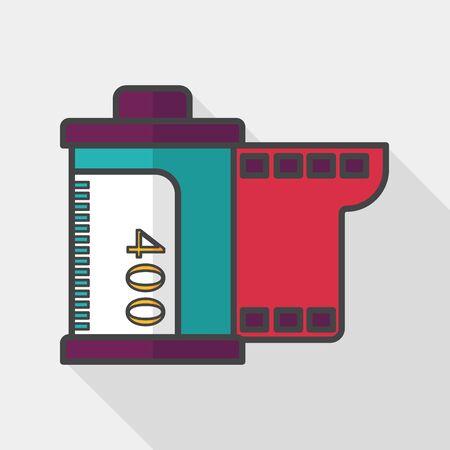 camera film: camera film, flat icon with long shadow Illustration
