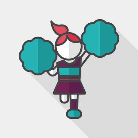 porrista: cheerleader flat icon with long shadow