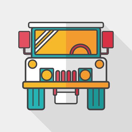 comandante: Transportation hammer flat icon with long shadow,