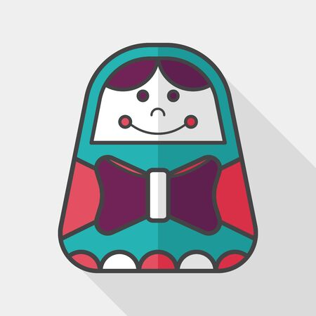 russian doll: Russian Doll flat icon with long shadow,