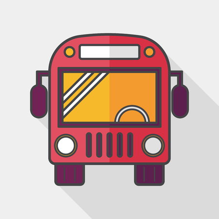 schoolbus: Transportation bus flat icon with long shadow