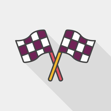 motorized sport: racing flags flat icon with long shadow,