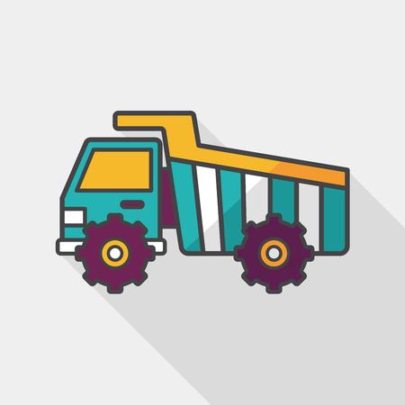 excavating machine: Transportation excavator flat icon with long shadow,