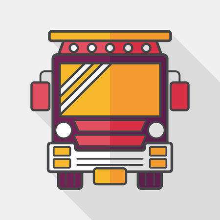 schoolbus: Transportation school bus flat icon with long shadow