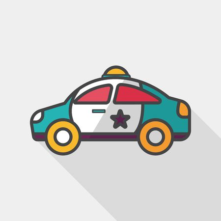 motor cop: Transportation police car flat icon with long shadow,